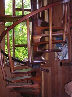 The incredible wooden staircase by Sam Maloof