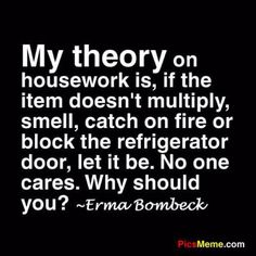 My theory on housework is, if the item doesn't multiply, smell, catch on fire or block the refrigerator door, let it be. No one cares. Why should you? ~ Erma Bombeck