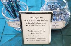Step right up to the candy buffet. It is a fabulous end to a wonderful day. And as you enjoy your treats, be sure to remember love is sweet! Wedding Desserts, Wedding Themes, Wedding Events, Wedding Ideas, Candy Buffet Signs, Love Is Sweet, Sweet 16, Candy Quotes, Wedding Book