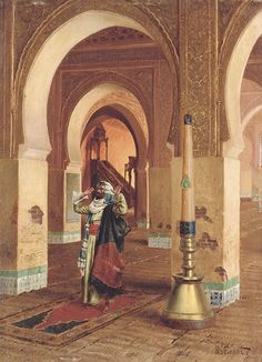 "RUDOLPH ERNST. THE PRAYER. oil on panel. 40 × 29,5 cm. Signed "" R. Ernst "" lower right and "" a Hemeen "" on the reverse. Provenance : CHRISTIE'S, London, Orientalist Art, wednesday 02 / 07 / 2008; Estimate : 130,000 - 190,000  €."