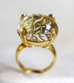 sphere of life ring rock crystal ring intaglio ring