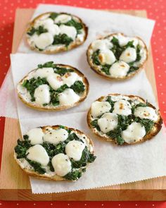 Quick Dinner in Front of the TV Recipes | Mini Spinach-and-Cheese Pizzas