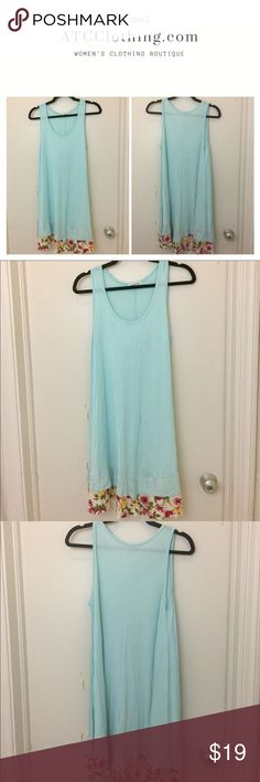 Blue T-Shirt Dress with Floral Detailing at Hem Sky blue tunic dress with floral at hem Lollipop Star Dresses