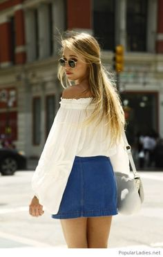 Blue denim skirt and a white top