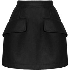 McQ Alexander McQueen Structured wool-blend skirt (535 CAD) ❤ liked on Polyvore featuring skirts, bottoms, saias, alexander mcqueen, black skirt, wool blend skirt, knee length pleated skirt, pleated skirt and black knee length skirt