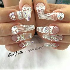 Easy and cute 20 nail art designs of different rhinestones stiletto nails with Nail Art Designs, White Nail Designs, Pretty Nail Designs, Short Nail Designs, Coffin Nails, Stiletto Nails, Aycrlic Nails, Cute Nails, Pretty Nails