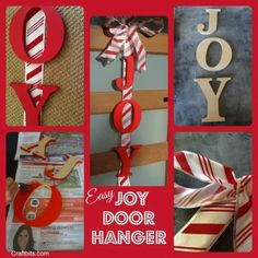 Christmas Crafts : Illustration Description DIY Christmas Door Art – JOY wreath tutorial make your own Popsicle Stick Christmas Crafts, Edible Christmas Gifts, Christmas Craft Projects, Christmas Activities For Kids, Holiday Crafts, Holiday Decor, Holiday Ideas, Christmas Door, Kids Christmas
