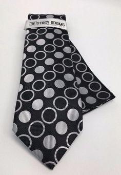 Stacy Adams Tie & Hanky Set Black & Silver Polka Dots Microfiber Men's #StacyAdams #Set