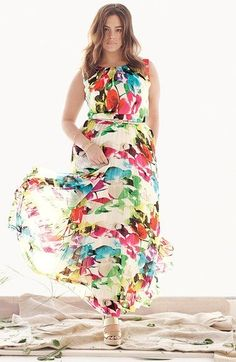 Plus Size Floral Print Chiffon Maxi Dress