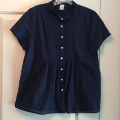 J. Crew blouse Navy blue patterned blouse with pleated front.  Short sleeves with buttons on sleeve. 97% cotton. J. Crew Tops Blouses