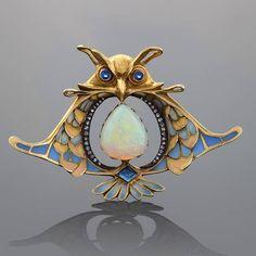 Art Nouveau Brooch by Lucien Gautrait ca.1905 via Antique Art Nouveau Jewelry FB