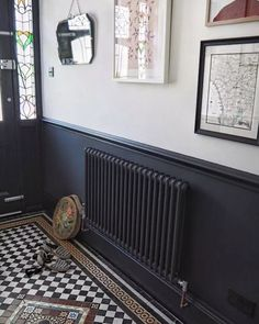 Homedecorrustic two tone walls, dark hallway, hallway paint, tiled hallway, Tiled Hallway, Painted Radiator, Hallway Flooring, House Inspiration, Interior, Victorian Hallway, Home Decor, House Interior, Hallway Decorating