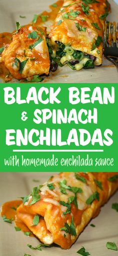 Our favorite enchiladas! Easy vegan black bean enchiladas with spinach and sweet corn. Smothered in the most amazing homemade enchilada sauce! Vegan Mexican Recipes, Vegetarian Recipes, Healthy Recipes, Vegan Black Bean Recipes, Vegetarian Sandwiches, Vegetarian Barbecue, Going Vegetarian, Vegan Vegetarian, Enchilada Recipes