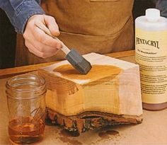 Wood Projects This would be good to know. How to prevent wood bark from splitting - Pentacryl™ is a green wood stabilizer used to keep green wood from cracking, checking and splitting during the drying process. Wood Turning Lathe, Wood Turning Projects, Diy Wood Projects, Wood Crafts, Wood Bark, Wood Logs, Wood Lathe, Articles En Bois, Got Wood