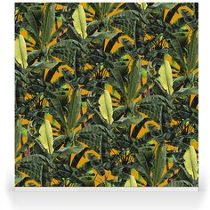 """""""Crazy Banana Sunset""""- A brand new range by our Senior Designer, Franco Moz. It encapsulates the strong botanical atmosphere of a summer paradise -and as a wallpaper or stretched canvas- is able to truly bring the outdoors into your modern day home decor. A N Wallpaper, Summer Paradise, Tropical Leaves, Stretched Canvas, Surface Design, Ceilings, Wall Design, Robin, Plant Leaves"""