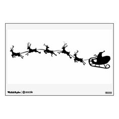 santa in sled silhouettes | santas sleigh and reindeer silhouette wall decal from Zazzle.com
