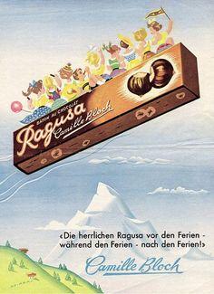 Ragusa. Werbung von 1953.  One of my favorite Chocolates.