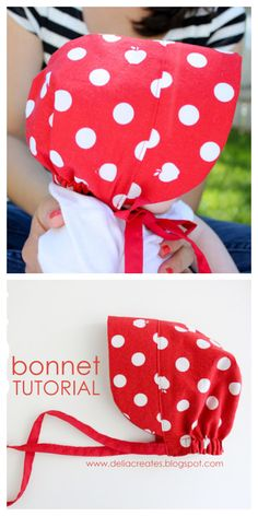 Boys Sewing Patterns, Hat Patterns To Sew, Sewing For Kids, Baby Patterns, Free Sewing, Baby Bonnet Pattern Free, Sewing Baby Clothes, Baby Sewing Projects, Baby Bonnets