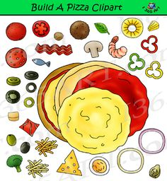 Build Pizza Clipart Set - School Clipart by Clipart 4 School Food Clipart, Art Clipart, Education Clipart, Crafts For Kids, Arts And Crafts, School Clipart, Food Pyramid, Teaching Materials, School Projects