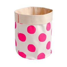 Opbergmand canvas M Pois-Neon Pink - Opbergen
