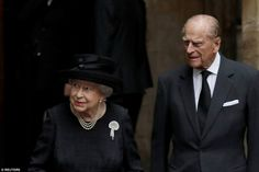The Queen, who served as a bridesmaid at the Countess' 1946 wedding, with Prince Philip at the funeral today
