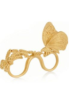 Valentino+Gold-plated+three-finger+butterfly+ring+ +NET-A-PORTER