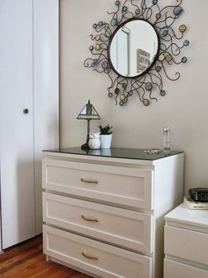 MALM - I would use white stained oak drawers and add white shaker style trim. from Brokelynese.blogspot.com