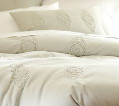 Dora Embroidered Duvet Cover & Sham- Love it! I could do so many things with it