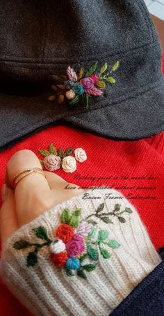 부산프랑스자수...옷에 수놓기 : 네이버 블로그 Embroidery On Kurtis, Kurti Embroidery Design, Embroidery On Clothes, Wool Embroidery, Hand Embroidery Designs, Ribbon Embroidery, Floral Embroidery, Embroidery Stitches, Embroidery Patterns