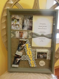 Wedding Gift/ Shadow Box Frame... With wedding invitation, picture memories, last initial decorated, and collage with sentiments of the wedding together including song Bride walked too as she walked into her new future.
