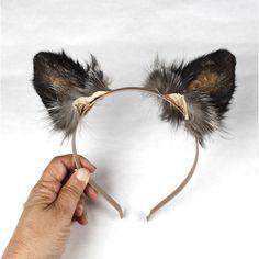 Silver Fox Ears Headband Real Taxidermy Kitsune Anime Black Costume... ($40) ❤ liked on Polyvore featuring home, home decor, home & living, home décor, silver, taxidermy & curiosities, black cat home decor, outside home decor, fox home decor and outdoor lanterns