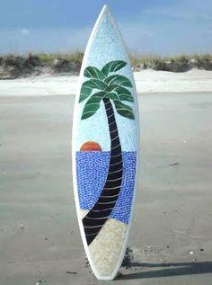 Mosaic surfboard decor. Very cool!
