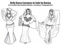 Belly Dance Costumes to Color ; e-book