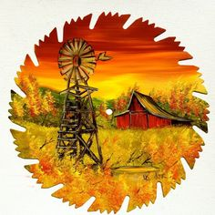 Hand Painted Saw Blade Art Sunset Fall Red Barn Windmill NEW OOAK