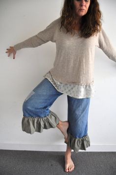 Hey, I found this really awesome Etsy listing at http://www.etsy.com/listing/172013928/denim-jeans-upcycled-ruffled-plus-size
