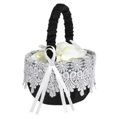 Flower girl baskets! The large strip of lace around it adds to the rustic, vintage or shabby chic look.  www.celebrationsbykat.com