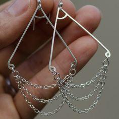 Chandalier dangle chains sterling silver by CherishedBijou