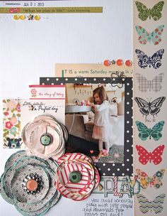 Layout using October Afternoon's Woodland Park collection and Epiphany Crafts by Malika Kelly.