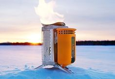 Biolite campstove -- uses twigs instead of propane AND it provides electricity to charge a phone!