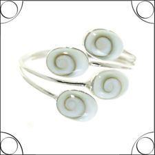 81stgeneration Sterling Silber 2,4 mm Oval Shiva Auge Muschel Verstellbar Ring