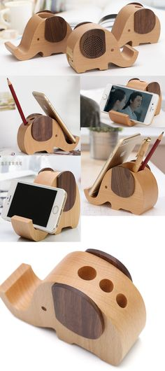 A Wooden Elephant Office Desk Organizer iPhone Cell Phone Charging Station Dock Mount Holder  Pen Pencil Holder Stand  Business Card Display Stand Holder for iPhone 77 Plus6s6s Plus and other smartphones
