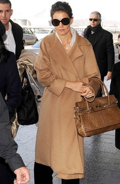 Katie Holmes in Max Mara ~~ I love Max Mara coats, especially this camel one!