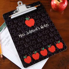 Personalized Teacher Clipboard - Black With Red Apples - 4042 christmas gifts for teachers Homemade Teacher Gifts, Personalized Teacher Gifts, Homemade Gifts, Diy Gifts, Christmas Gifts For Professors, Teacher Christmas Gifts, Diy Christmas, Christmas Cookies, Teacher Clipboard