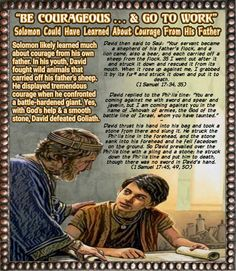 """""""Be Courageous . & Go to Work""""//Solomon Could Have Learned About Courage From His Father Samuel Samuel 1 Samuel 17, Armor All, Scripture Pictures, King David, Jehovah's Witnesses, Bible Lessons, Solomon, Going To Work, Worship"""