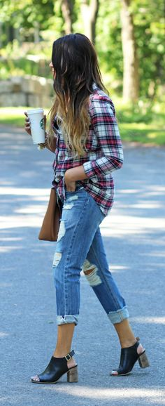 Stay Stylish While Working from Home // Flannels and Boyfriends Jeans (via MashElle)