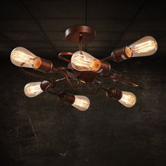 Retro Rust Metal Bent Tube Semi Flush Mount with Six Exposed Bulbs - Semi Flush Lights - Ceiling Lights - Lighting Retro Ceiling Lights, Low Ceiling Lighting, Lounge Lighting, Industrial Ceiling Lights, Kitchen Ceiling Lights, Semi Flush Lighting, Semi Flush Ceiling Lights, Flush Mount Ceiling, Kitchen Lighting