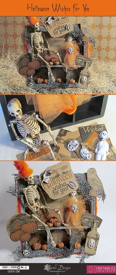 I love Halloween themed shadowbox trays and when I saw the new Haunt It Collection from Canvas Corp Brands, I knew the vintage styled tags on Kraft paper were perfect for my next project. I had just purchased the Petite Pete mini skeleton a
