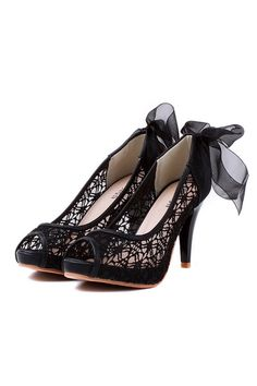 The high heels crafted in mesh and PU, featuring embroidered mesh design to vamp, bowknot embellished to the reverse, a peep toe and high stiletto.$58