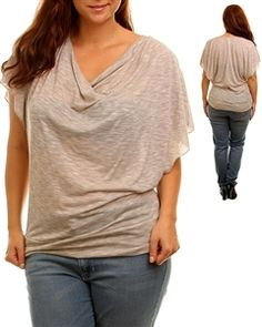 Sand Washed Plus Size Delicate Draped Top  Size XL,2X,3X  $21.99