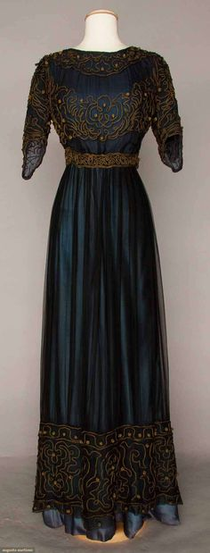 C. 1905 Afternoon Dress Marine blue silk & chiffon dress with gold soutache More